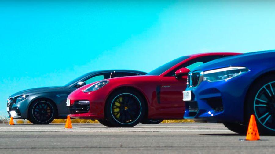 Кто быстрее на прямой: BMW M5, Mercedes-AMG E63 S или гибридный Porsche Panamera?