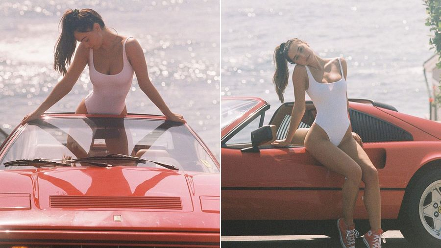 Прекрасная Алексис Рен в солнечной фотосессии с Ferrari 328
