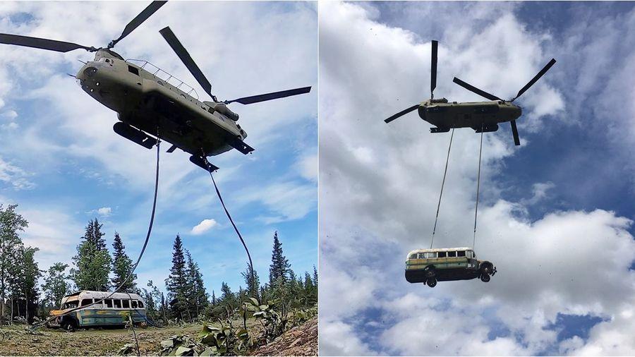 Старый заброшенный автобус в лесах Аляски эвакуировали вертолетом, чтобы люди больше не погибали