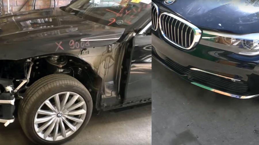 Разбитая BMW 7-серии становится как новенькая в руках российского механика