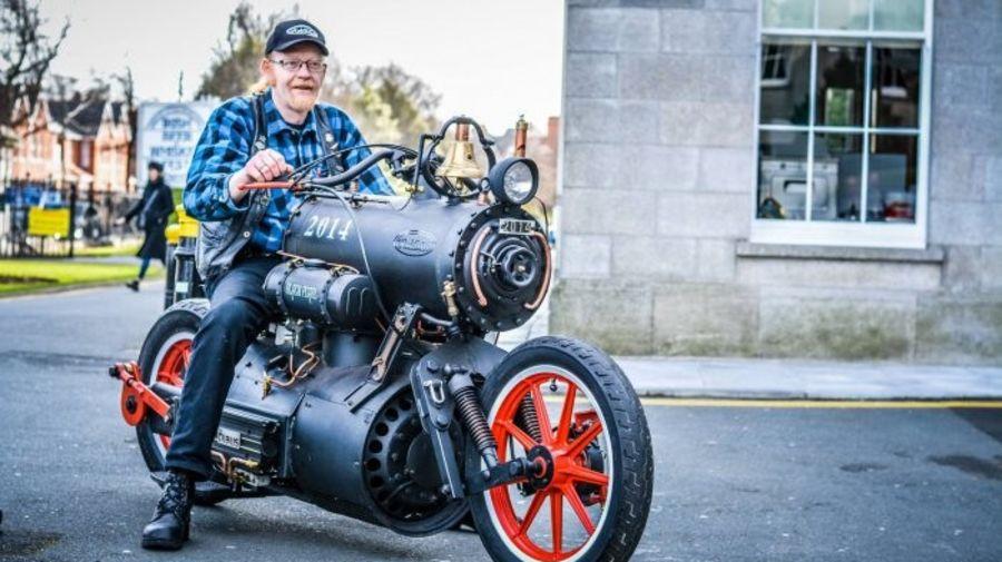 Двухколесный паровоз. Паровой мотоцикл Black Pearl.