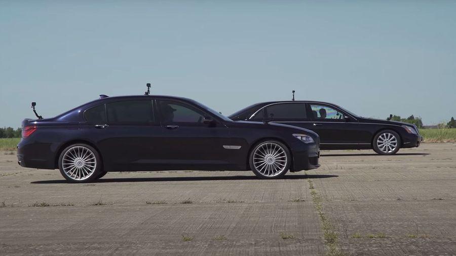 Maybach 62 против BMW 760Li. Кто окажется быстрее в дрэге?