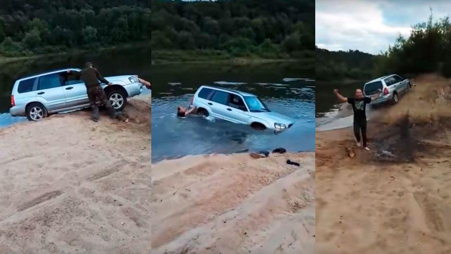 Магия: посмотрите на невероятное спасение Subaru Forester из реки