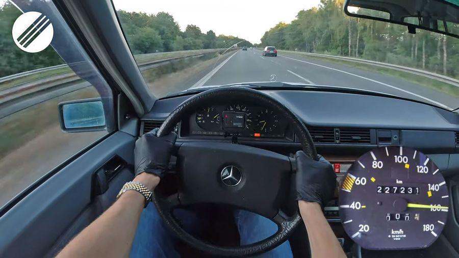 Вот что чувствует водитель за рулем 30-летнего Mercedes-Benz 200 TD на максимальной скорости