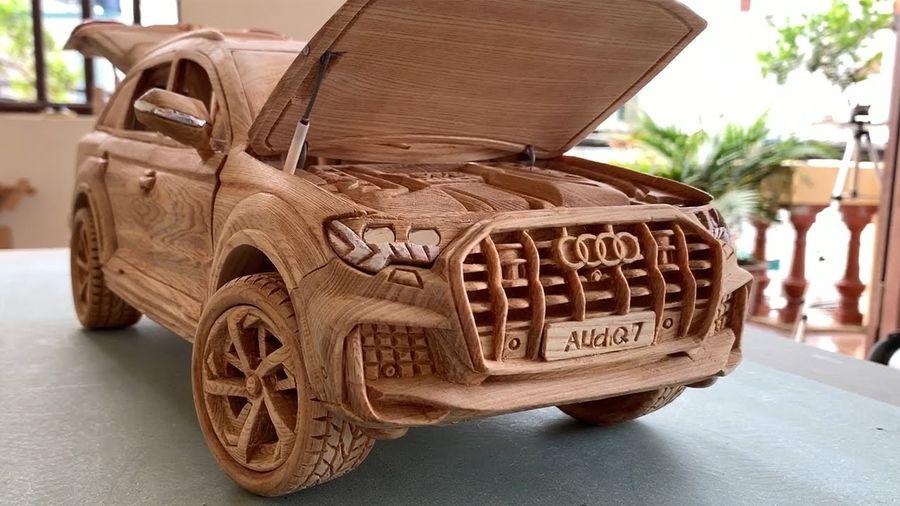 Эта масштабная копия Audi Q7 была сделана вручную из дерева