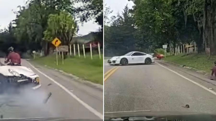 Porshce 911 GT3 сбил велосипедиста во время обгона через две сплошных