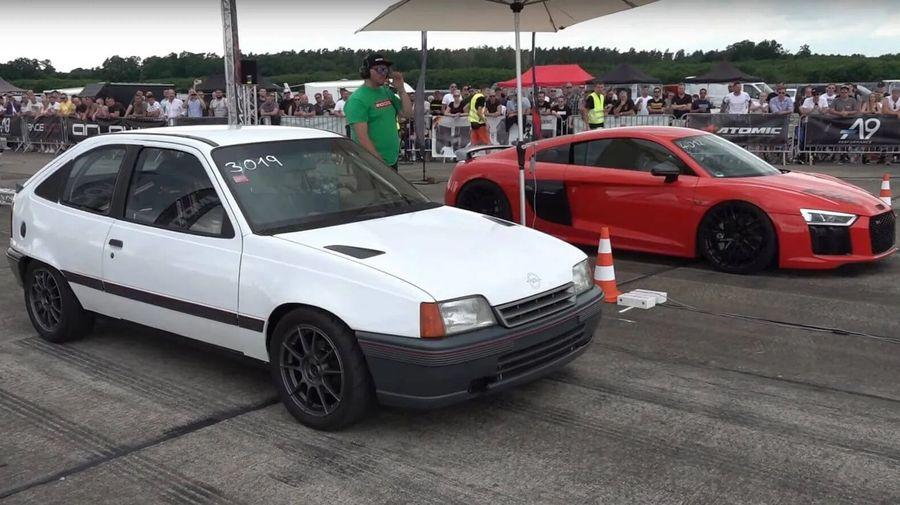 Посмотрите, как 730-сильный Opel Kadett гоняется с Audi R8, RS6 и BMW M3