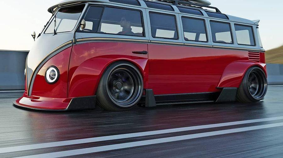 Микроавтобус Volkswagen T1 с экстремально широким кузовом стал похож на гоночный Porsche