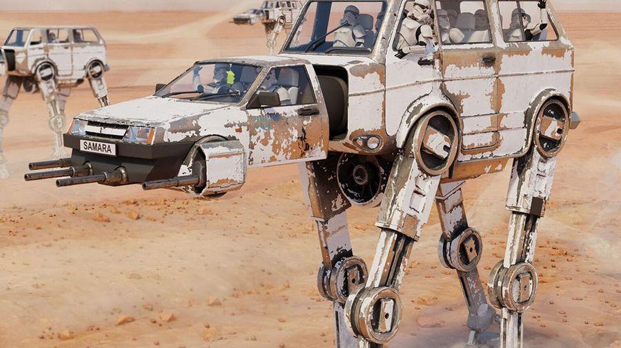 Оказывается, можно объединить шагающего робота из «Звёздных войн» и пару советских автомобилей