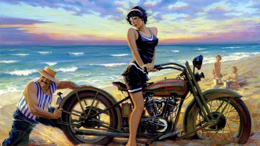 Талантливый художник рисует мотоциклы Harley-Davidson с красивыми девушками