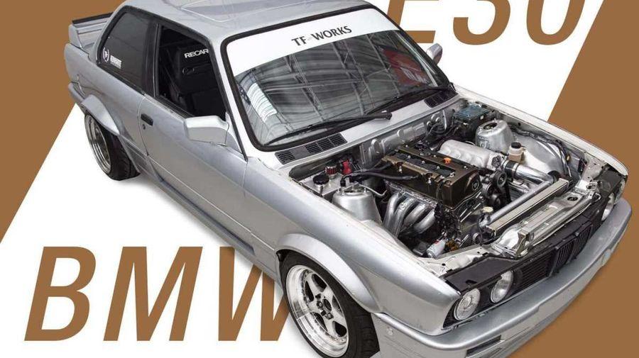 Неожиданный СВАП: BMW E30 325i оснастили 4-цилиндровым мотором Honda K24