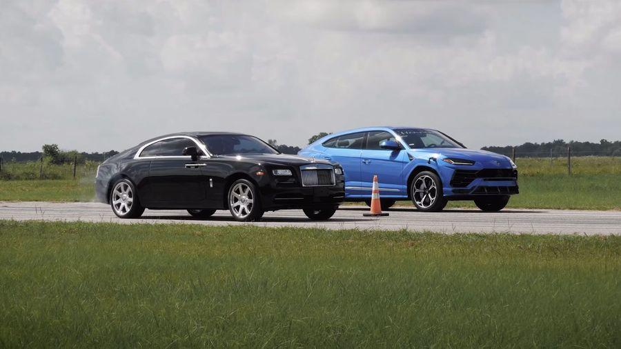 Кто быстрее? Rolls-Royce Wraith против тюнингованного Lamborghini Urus