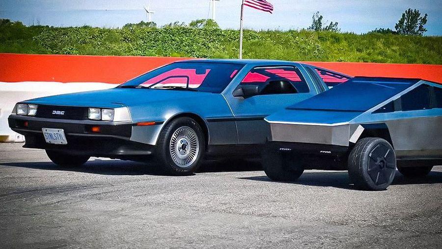Дрэг-гонка легендарного DeLorean из «Назад в будущее» и мини Tesla Cybertruck