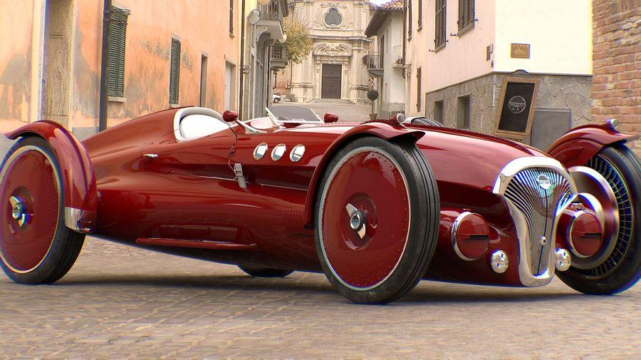 Так мог бы выглядеть гоночный автомобиль 1940-х годов с электрической силовой установкой