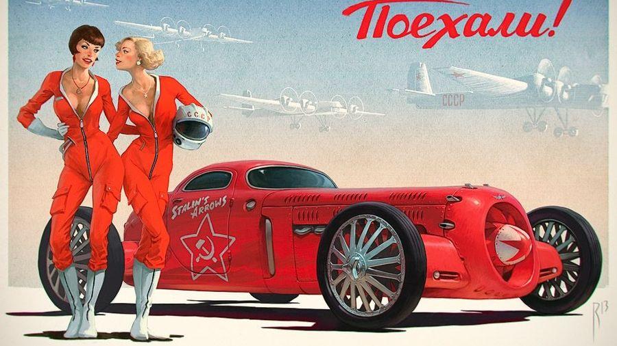 Автомобили Waldemar Motoren и девушки в стиле пин-ап в работах тверского иллюстратора